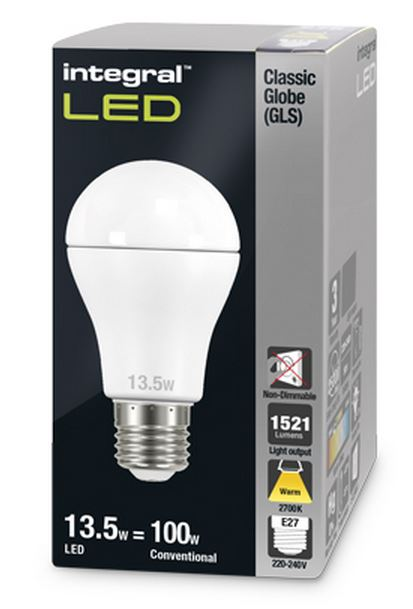 100w equivalent led bulb e27 classic gls globe warm white integral. Black Bedroom Furniture Sets. Home Design Ideas