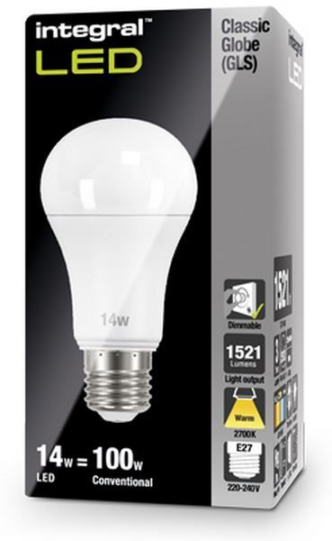 dimmable 100w equivalent led bulb 14w screw e27 integral. Black Bedroom Furniture Sets. Home Design Ideas
