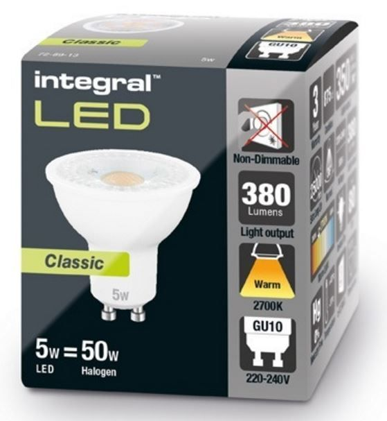 gu10 led bulb classic glow 50w halogen equivalent integral. Black Bedroom Furniture Sets. Home Design Ideas