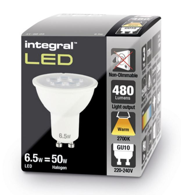 led spot lights gu10 warm white integral led 50 60w halogen. Black Bedroom Furniture Sets. Home Design Ideas