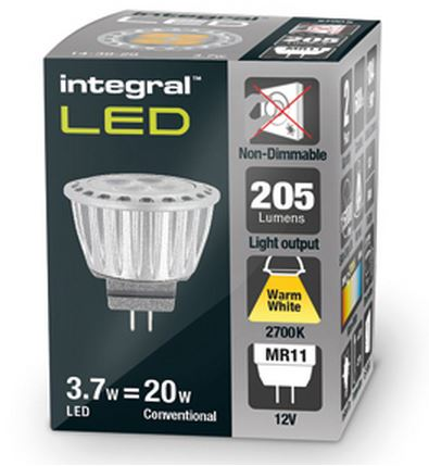mr11 led bulb warm white gu4 integral. Black Bedroom Furniture Sets. Home Design Ideas