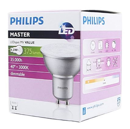 philips gu10 led dimmable master range 50w equivalent bulb. Black Bedroom Furniture Sets. Home Design Ideas