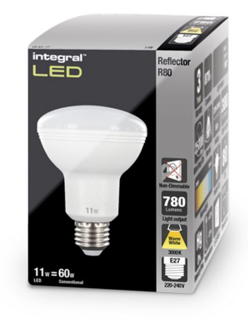 r80 reflector led bulb 60w equivalent warm white e27 non. Black Bedroom Furniture Sets. Home Design Ideas